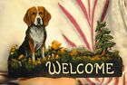 Original Painting Beagle Dog Hand Made Whimsical WELCOME SIGN Carved Art SALE