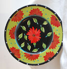 Tea Party Plate by Joyce Shelton GIFTCRAFT Floral Ceramic Round w/ Polka Dots