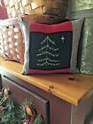Primitive  Stitchery  Christmas Tree Ornie Red Brown   and Grey  Border Wool