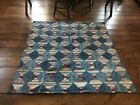 BEST Early Antique Handmade Blue Calico Log Cabin Quilt Textile AAFA