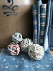 4 Small Rag Balls Made From 1890s Blue and Red Rug Strips