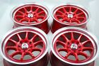 15 red Wheels Prius C Civic Accord Integra Cooper Forenza Ion 4x100 4x1143 Rims