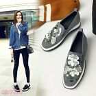Womens Retro Casual Slip On Suede Sequins Flower Flats Slip On Loafers Shoes New