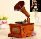 WOODEN PHONOGRAPH MUSIC BOX   The Godfather Theme