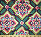 Moroccan Fabric Red Teal Navy Modern Morocco Floral Cotton Fabric A119