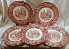 Set of 5 Wedgwood Porcelain Dinner Plates, Albion College Michigan,Robinson Hall