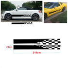 2X Checkered Flag Racing Car SUV Body Vinyl Long Stripe Decal Sticker Waterproof