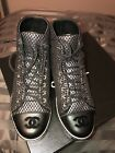 CHANEL Black Silver Fabric Lambskin Lace Up High Top Sneakers Size 36