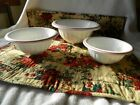 Three Vintage Mid Century Milk Glass Nesting Mixing Bowls with Red Trim
