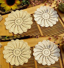 Lot of 6 Hand Crochet 75 WHITE BEIGE Doilies Vintage Wedding Tea Party NEW