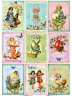 9 Vintage Easter Spring Festival Hang Tags Scrapbooking Paper Crafts 277