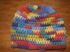 Ponytail Messy Bun Hats Hand Crocheted Stretchy OpenTop Beanie Cap COLORFUL Med