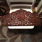 Vintage hand carved wooden scrollwork floral/leaf design wall art/ hanging panel