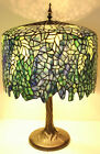 Tiffany Style Stained Glass Blue Wisteria Table Lamp 18 Shade Handcrafted New