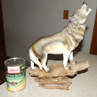 Rustic Faux Wood Resin Wolf Statue 13 1 2 Tall