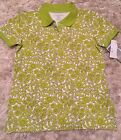 NWT Liz Golf Petite Ladies Lime Green White Floral Perfect Polo Top Size P Small