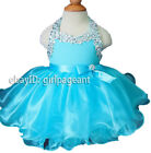 Infant toddler baby Blue Crystals Halter Bow Pageant Dress G079