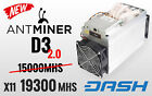 Brand New Bitmain Antminer D3 193GH s Dash Miner + PSU APW3 Ready to SHIP NOW