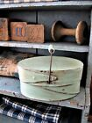 Small Oval Shaker Pantry Box with Bail Handle Robins Egg Blue Paint