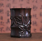 China Wood Carved Dynasty Palace Bamboo Brush Pot Pencil Vase Pen Container