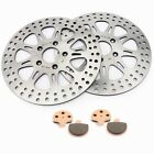 2 Front Brake Disc Rotors Pads 11.5'' for Harley Touring 1340 FLTC Electra Glide