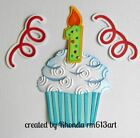BIRTHDAY CUPCAKE boy1 title paper piecing Premade Scrapbook Pages by Rhonda