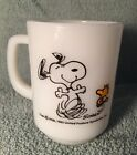 Vintage Anchor Hocking Fire King Snoopy AT TIMES LIFE IS PURE JOY Milk Glass Mug