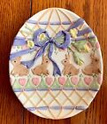Fitz & Floyd Essentials Hand Painted Egg-Shaped Decorative Easter Bunny Plate