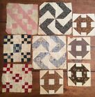 Lot Of 9 Assort VINTAGE Quilt square Blocks. A Little Grungy But I Couldn't Toss