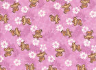 Children Baby Multiple Pinks Cotton FLANNEL Fabric MONKEYS  Flowers BTY
