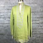 Tory Burch Womens Lime Green Embroidered Linen Long Tunic Top Size 8 Long Sleeve