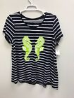NEW Crown  Ivy Womens Shirt Navy White Lime Green Sea horse Casual Size Large
