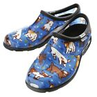 Sloggers Womens Farm Animal Print Water Proof Clogs Blue Goats