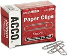 ACCO Paper Clips Jumbo Smooth 100 Count 10 Pack Smooth Finish Paper Clips Glide