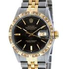 Pre-Owned Rolex Mens Datejust Watch Steel & 18K Yellow Gold Black Diamond Index