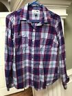 OLD NAVY Womens Flannel Purple Plaid Long Sleeve Shirt M