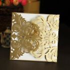 5Pcs Gold Cards Flower Pattern Hollow invitation Party Birthday For Wedding