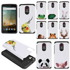 For ZTE N817 / QUEST UHURA Animal Design Fusion Hybrid Hard Rubber Case Cover