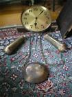 Antique German Grandfather Clock Movement Works Dial Weights Pendulum Gong Chain