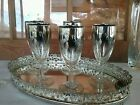 5 Vintage 60s Silver Fade Ombre  cordial Glasses marked FRANCE Thorpe style EUC