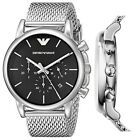 100% New Emporio Armani AR1811 41mm Chronograph Black Dial Steel Men's Watch