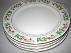 4 Gibson Christmas Charm Salad Plates Holly Berries 8 1/2
