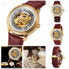 Skeleton Men Watches Golden Steel Crystal Case Brown Leather Strap Sale Watch US