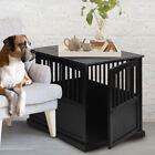 End Table Dog Crate Brown Pet Kennel Cage Wood Indoor House Furniture New