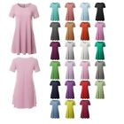 FashionOutfit Women's Solid Round Neck Short Sleeves Dress with Side Pockets