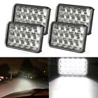 4PCS LED Dual Sealed Beam Cystal Super Bright Kit + H4 Pigtail Headlight Harness