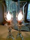 PAIR OF ANTIQUE HURRICANE LAMP ETCHED GLASS SHADES