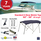 BIMINI TOP 4 Bow Boat Cover Blue 90 96 Wide 8ft Long With Rear Poles