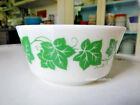 Hazel Atlas Platonite Milk Glass Green Ivy Leaf Cereal Soup Cottage Cheese Bowl