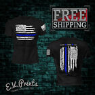 THIN BLUE LINE FLAG POLICE LIVES MATTER COPS OFFICER T SHIRT USA PATRIOTIC SS3
